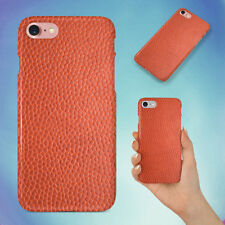 ORANGE LEATHER IMAGE HARD BACK CASE FOR APPLE IPHONE PHONE