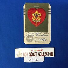Boy Scout 1954 Life Scout Rank Patch On Card