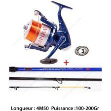 Ensemble Set Surf Canne Carbone 4M50 + Moulinet Mer 3 Roulements
