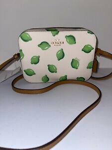 Coach Mini Camera Bag Crossbody with Lime Print Im/Chalk Green Multi