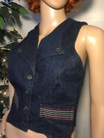 Vintage 70s Rainbow Stitched Striped Denim Vest Fitted Roller Disco Small