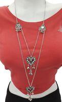 Long Boho Sweater Necklace Layered Tassel Charm Boho Gypsy Hippie Style Jewelry