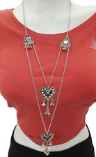 Long Boho Necklace Gypsy Hippie Goth Style Heart Pendant Charm Fashion Jewelry