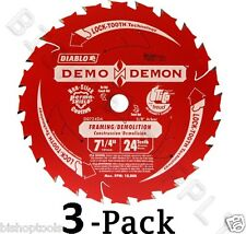 "3pc Freud Diablo D0724DA 7-1/4"" 24T Carbide Circular Saw Frame Blade DEMO DEMON"