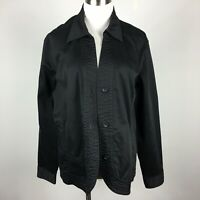 Coldwater Creek XL Light Jacket Black Button Up Long Slv Unlined Cotton Stretch