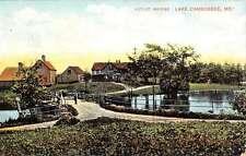 Lake Cabbossee Maine Outlet Bridge Scenic Village Antique Postcard K14414