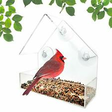Acrylic Wild Bird Feeder With Removable Suction Cup And Seed Tacy For Garden Yar