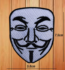 ANONYMOUS MASK VENDETTA BIKER PATCH EMBROIDERED IRON OR SEW ON BADGE LOGO