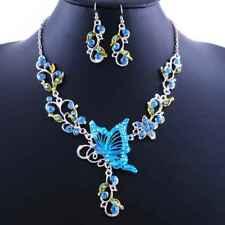 Women Ladies Butterfly Flower Rhinestone Pendant Necklace Earrings Jewelry Set