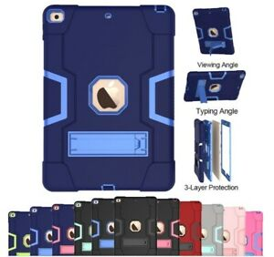 For iPad 9th 8th 7th Gen Case Shockproof Hybrid Rubber Rugged Tough Stand Cover