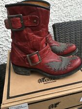 📌 MEXICANA Biker Boots rot/schwarz 37,5 Vintage Look Ibiza Style wNEU Stiefel