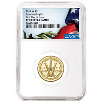 2019-W Proof $5 Gold American Legion 100th Ann. NGC PF70UC FDI Flag Label