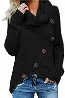 Kidsform Women's Chunky Turtle Cowl Neck Button Sweater, A-black, Size Large