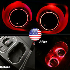 2pc Solar Cup Pad Car Accessories Led Light Cover Interior Decoration Light Red (Fits: Volvo)