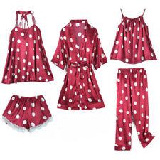 2-6 Pcs Pijamas Sets Mujer de Seda Women Sexy Lace Sleepwear Silk Satin Homewear