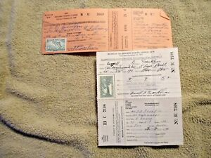 1948 & 1952 Michigan Resident Fishing Licenses with Trout Stamps good shape - NR