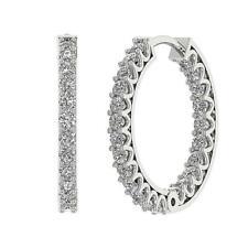 Hoop Earrings SI1 G 0.65 Ct InOut Side Round Diamond 14K White Gold Appraisal