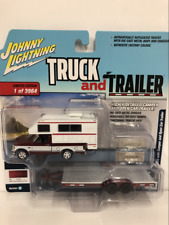 1993 Ford F-150 with Camper and Open Car Trailer 1:64 Scale JLBT008A
