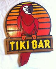Tiki Bar Red Parrot Custom Sign 3D routed carved wood Beach pub Custom