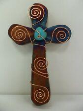 Raku Pottery Hanging Wall Cross (5in) By Artist Jeremy Diller
