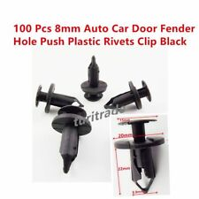 100 Pcs 8mm Car Hole Plastic Rivets Fastener Fender Bumper Push Pin Clips