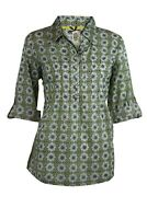 Womens Ladies Mistral Green Floral Print Pop Over Button Blouse Top Size 8-16