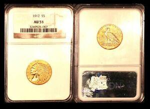 1912 $5 NGC AU 58 - Half Eagle