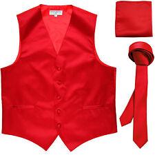 """New Men's red vest Tuxedo Waistcoat_1.5"""" necktie & hankie set wedding"""