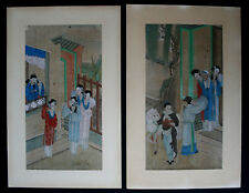 ANTIQUE PAIR CHINESE PAINTINGS - FRENCH FLEA MARKET FIND