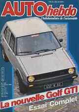 AUTO HEBDO n°339 du 14 Octobre 1982 VW GOLF GTI 1800 SAN REMO
