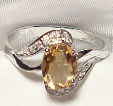 Genuine Citrine .925 Sterling Silver Ring Size 8.5 -- CT97510