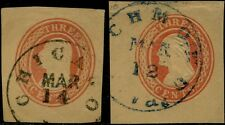 #U1-2 Used Cut Square 3¢ Red, Red On Buff, Xf+ Cv $70.00 Bp8535