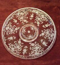 "Fostoria Etched Glass Shallow Bowl Large 11-3/4"" Satin Ribbon Pttn VG"