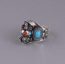 F05 Ring Tibet Nepal roter Achat und Türkis Silber 925 größenverstellbar