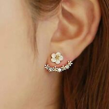 Womens clear Crystal Stud Daisy Earrings Round Silver Rose Gold Plated Elegant