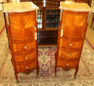 Fabulous Pair of French Louis XV Style Kingwood Marble Top Lingerie Chests