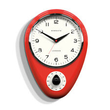 NEWGATE CLOCKS Discovery Kitchen Wall Clock Red Metal Timer 60 Minute Retro