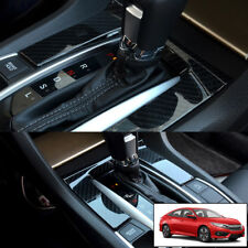 Carbon Fiber Style Gear Shift Panel Cover Trim For Honda Civic 2016 2017 2018