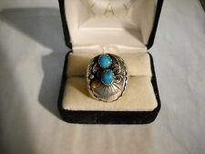~Vintage Southwest Signed FP Marked Sterling Turquoise Detailed Ring Size 10 1/2
