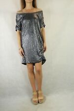 WITCHERY Metallic Silver Crinkle Relaxed Fit Dress Size 12