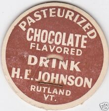 MILK BOTTLE CAP. H. E. JOHNSON. RUTLAND, VT. DAIRY