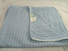 Tadpoles Cable Knit Baby Blanket Blue Gingham Trim Lovey Security