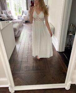 Cotton and crochet white maxi summer beach dress. Size 8