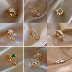 2021 Fashion Love Pearl Open Adjustable Ring Gold Zircon Women Daily Jewellery