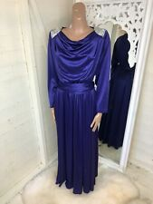 Vintage Charade By Berketex Purple Evening Gown Dress Sequin Cowl Neck