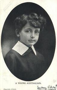 "1907 VINTAGE Falk Studios ""A Young Australian"" Boy POSTCARD addressed to Ottawa"