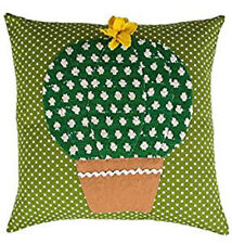 Green Patterned Bulb Cactus Cushion - Green Felt Cushion, complete with cushion