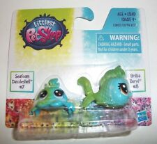 MINIATURE HASBRO LITTLEST PET SHOP SEAFOAM #7 & BRILLIA #8 TOY 2 PACK NIP