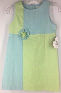 Girl's 8 HARTSTRINGS Dress Sleeveless AQUA BLUE LIME GREEN Shift Easter Linen