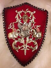 Vintage Art Deco Medieval Armour Horses  Shield Hanging Plaque